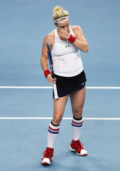 Mattek-Sands of the U.S. reacts during her Fed Cup tennis match against Clijsters of Belgium in Antwerp