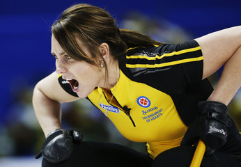 New Brunswick skip Crawford calls a shot against Newfoundland and Labrador during the tenth draw at the Scotties Tournament of Hearts curling championship in Kingston