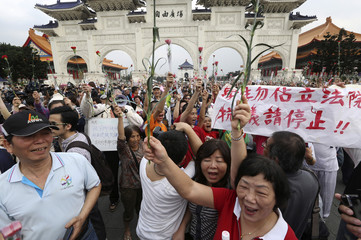 KMT supporters hold banners and carnations as they shout slogans during a protest in Taipei