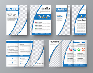 template for the front and back of the folding brochure, A4 flyer and a narrow flyer with blue semi-circular elements