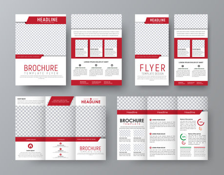 Design front and back side folding brochure, A4 flyer and a narrow flyer with red elements design
