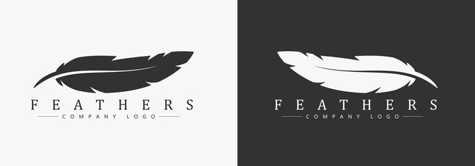 Logo design with feather and company name, for a writer or publishers.