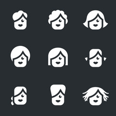 Vector Set of Female hairstyle Icons.