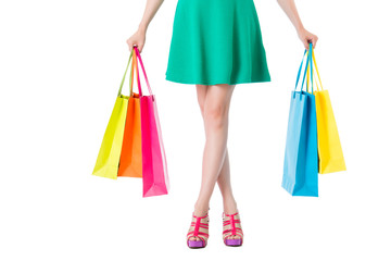 beauty lady legs with shopbags