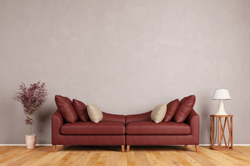 Rotes Sofa im Wohnzimmer vor Wand