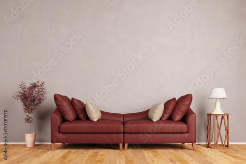 rotes sofa im wohnzimmer vor wand stockfotos und lizenzfreie bilder auf bild. Black Bedroom Furniture Sets. Home Design Ideas
