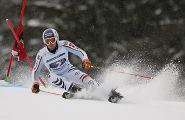 Dopfer of Germany clears gate during men's Alpine Skiing World Cup giant slalom in Garmisch-Partenkirchen