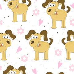 seamless pattern with dog. Vector Illustration