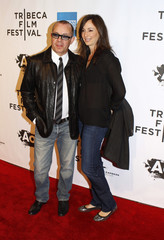 """Bernie Taupin and his wife arrive for the opening night premiere of """"The Union"""" during the 10th annual Tribeca Film Festival in New York"""