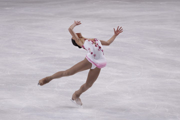 Nagasu of the US performs during the Ladies Free Skating program in the Bompard Trophy event at Bercy in Paris