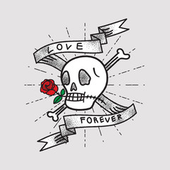 Love Forever, Shading Skull and Rose with Ribbon