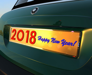 2018 concept with car number sign