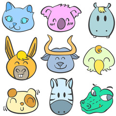 Collection of animal colorful doodles