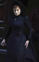British actress Kristin Scott Thomas is seen during the filming of a scene in her new movie
