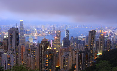 Sunset over Victoria Harbor as viewed atop Victoria Peak, Hong Kong