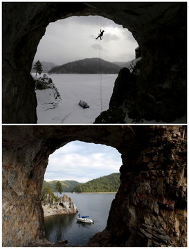 TO MOVE 1 SEP 10 GMT A combination picture shows rescuer Yulia Borisova taking part in a rock climbing evacuation training session on the bank of the frozen Biryusa Bay and a man fishing from a sailboat near the same location