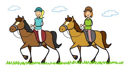 Zwei Frauen reiten auf Pferd in Reitferien