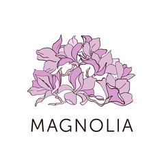 Magnolia flower outline sketch colored in pink. Each flower is a separate object.