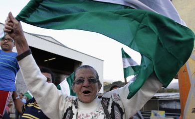 A woman waves the National Liberation Party flag of presidential candidate Johnny Araya in Desamparados