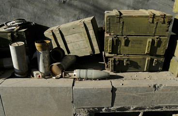 Military boxes are seen near Donetsk Sergey Prokofiev International Airport  in a territory controlled by the self-proclaimed Donetsk People's Republic in Donetsk