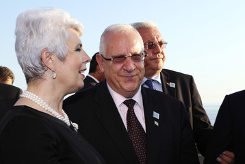 Croatian Prime Minister Kosor talks with Israeli Speaker of the Parliament Rivlin at the beginning of the sixth international Croatia Summit 2011 conference in Dubrovnik