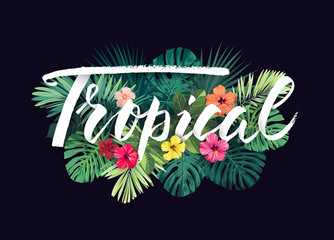 Summer hawaiian vector design for card or flyer with exotic palm leaves, hibiscus flowers and lettering.