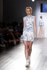 ec445535f930 A model presents a creation from thirteen year old designer Isabella Rose  Taylor Spring Summer