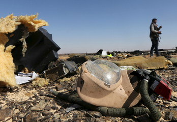 A debris from a Russian airliner is seen at its crash site at the Hassana area in Arish city