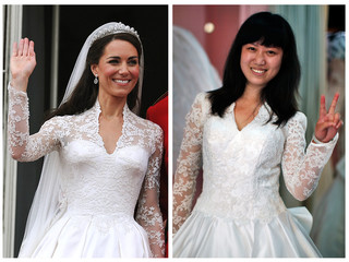 A combination picture shows Catherine, Duchess of Cambridge, in her royal wedding gown, and a Chinese customer in a copy of the gown