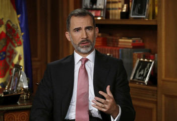 Spain's King Felipe VI delivers his traditional Christmas address at Zarzuela Palace in Madrid
