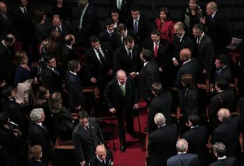 Spanish King Juan Carlos, walks ahead of Spain's Crown Prince Felipe and PM Rajoy during XXII Ibero-American Summit in Cadiz