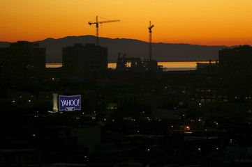 File photo of a sign advertising the internet company Yahoo at sunrise in San Francisco
