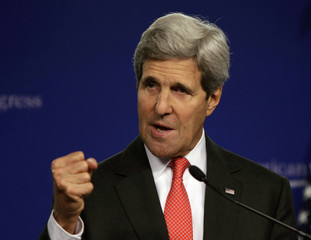 U.S. Secretary of State Kerry speaks at the Center for American Progress on the launch of India:2020 in Washington