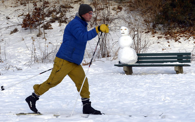 A man skis past a snowman on a bench in High Park in Toronto