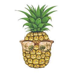 Pineapple Sunglasses Hand-Painted Illustration