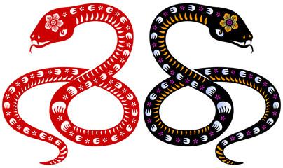 Traditional Chinese papercut style Zodiac sign Snake illustration.