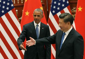 Chinese President Xi Jinping meets U.S. President Barack Obama before the G20 Summit, in Hangzhou