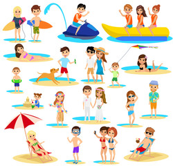 People on the beach set. Summer vacation. The cartoon style. Isolated on white background. Vector illustration.