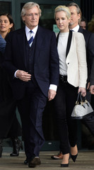 British actor Roache, who plays the character of Ken Barlow in the soap opera Coronation Street, leaves with daughter Verity after being cleared of all charges at Preston Crown Court in Preston