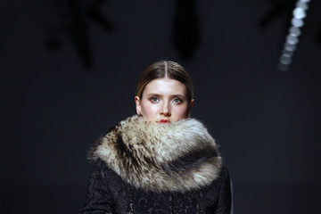 A model presents a creation from the Elie Tahari Fall/Winter 2011 collection during New York Fashion Week
