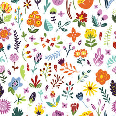 Seamless floral vintage pattern. Background with flowers, plants, leaves and herbs. Bright floral pattern
