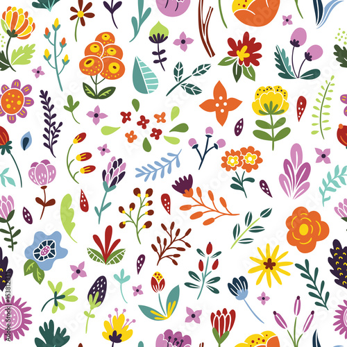 Seamless Floral Vintage Pattern Background With Flowers Plants