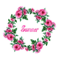 Hand drawn watercolor summer card with colorful roses and lettering isolated on white background.