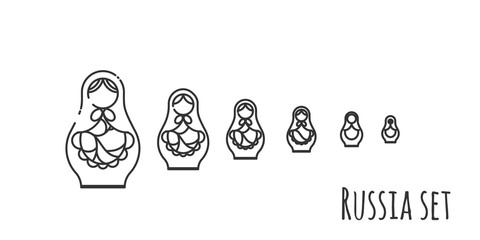 black and white vector illustration of matryoshka dolls
