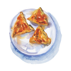 Hand drawn samosa on the plate. Watercolor street food illustration. Isolated traditional arabian, indian and uzbek pastry on white background