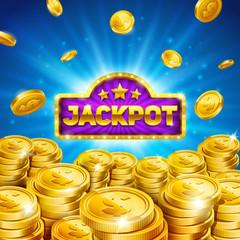 Jackpot winner background. Gold coins illustration. Eps10 vector.