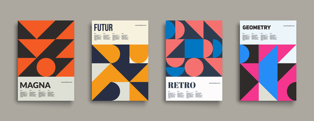 Retro graphic design covers. Cool vintage shape compositions. Eps10 vector. Wall mural
