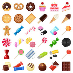 Cookie and candy collection - vector color illustration