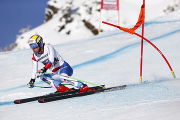 Carlo Janka of Switzerland clears gate during downhill event in men's World Cup super combined race in Wengen