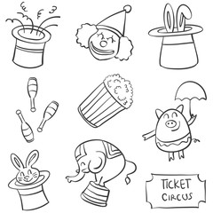 Doodle of circus various element